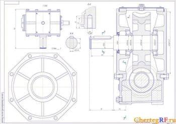 2.Сборочный чертеж редуктора с детальным рассмотрением позиций и с указанными размерами: габаритными и посадочными (формат А1)