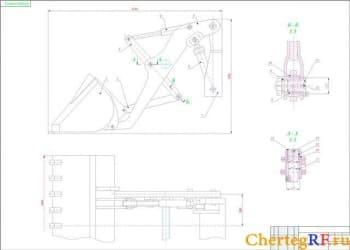 чертеж сборочный рабочего оборудования погрузчика (формат А1)