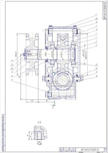 2.Сборочный чертеж редуктора червячного с указанными размерами и позициями деталей (формат А2)