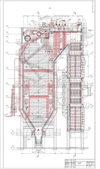 2.Чертеж вида общего котла ПК-10 в продольном разрезе (разрез В-В), в масштабе 1:40 (формат А1)