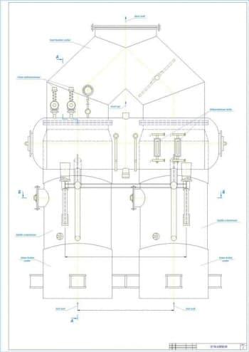 2.Чертеж вида общего котла-утилизатора В-90Б, с указанием размеров и элементов