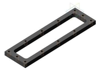 Чертеж модели 3d детали крепления верхней крышки