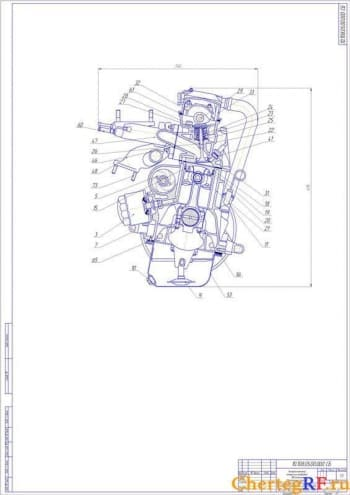 Чертеж поперечного разреза двигателя (формат А1 )