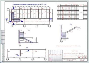 24.Чертеж схемы расположения перекрытия в осях 14-17 и Е-Ж