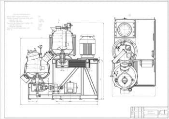 Сборочные чертежи смесителя двухстадийного с техническими характеристиками