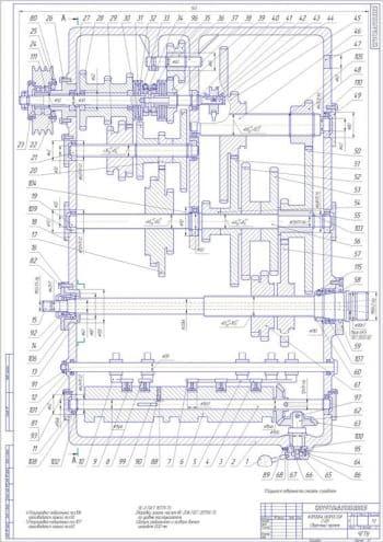 Сборочные чертежи коробки скоростей токарного станка