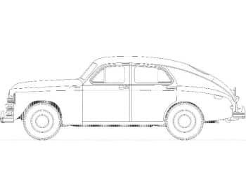26.Чертеж вида общего автомобиля легкового ГАЗ М-20 (формат А1)