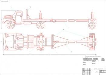 Чертежи лесовозного  автомобиля-тягача ЛТ-95 на базе автомобиля ЗИЛ-131