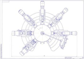 2.2-ой лист станка – вид сверху, с указанием габаритных размеров (формат А1)