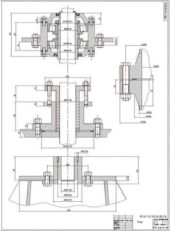 Чертеж сборочных узлов конструкции, в масштабе 1:1 (формат А3)