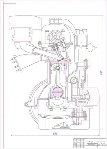 2.чертеж продольного разреза четырехтактного бензинового двигателя с габаритными размерами (формат А1)