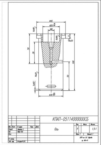 2.Рабочий чертеж детали ось А4