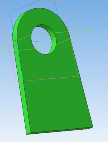 27.Модель детали ушко в 3D