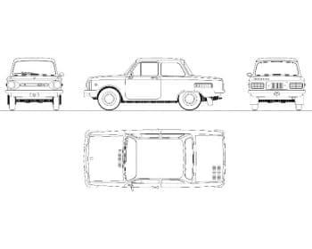 27.Чертеж вида общего автомобиля легкового ЗАЗ 968М в различных проекциях – виды спереди, сбоку, сзади и сверху (формат А1)