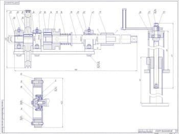 Второй лист чертежа общего вида гайковерта: изображены три проекции в масштабе 1:2,5 (формат А1)