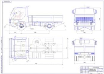 Чертеж передней подвески грузового автомобиля с деталями