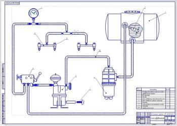 2.Гидравлическая схема (формат А1): резервуар для рабочей жидкости объемом 300 литров, гидравлическая мешалка, ВОИ трактора, фильтр