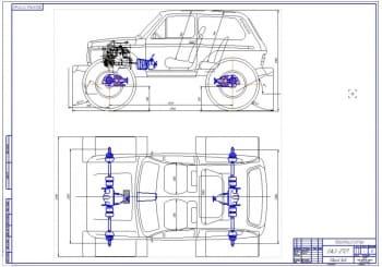 2.Общий вид модернизированного в снегоболотоход автомобиля марки ВАЗ-2121 Нива (формат А1)