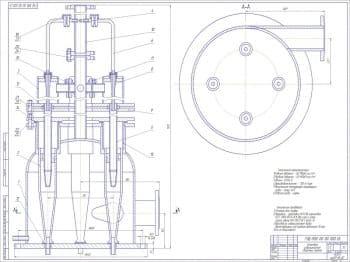 Чертежи установки подготовки нефти с блоком получения легких углеводородов: набор сборочных чертежей гидроциклонной установки и деталей