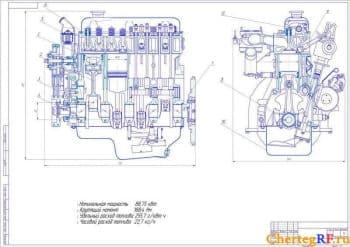 Сборочный чертеж двигателя ЗМЗ-4042.10 со следующими техническими характеристиками
