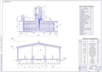 2.План в двух проекциях коровника на 200 голов с молочным блоком (формат А1)