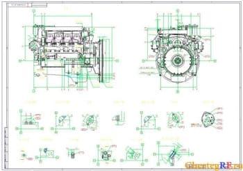 Габаритный чертеж двигателя 740.50-360 с указанием присоединения и обслуживания (формат А1 )