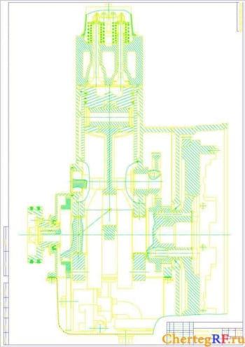 Чертеж двигателя 1 Ч 12/12, продольный разрез (формат А1 )