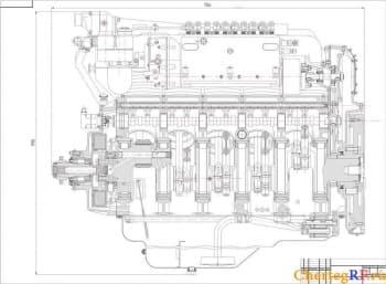 Чертеж двигателя V10 дизельного, продольный разрез с указанием габаритных размеров (формат А1 )