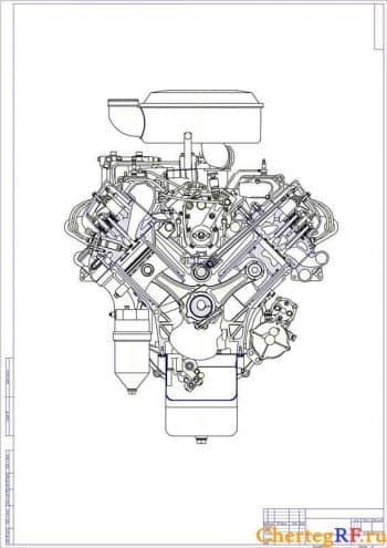 Поперечного разреза чертеж ДВС Камаз-740 (формат А1 )