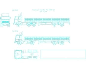 29.Чертеж общего вида автомобилей грузовых: МАЗ-6422, с полуприцепом бортовым МАЗ-93866-021 г/п 27.5т, в 2х проекциях – виды спереди и сбоку; и МАЗ-5432 в 2х проекциях – виды сбоку и сверху (формат А1)