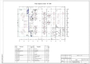 29.Чертеж плана расположения сети телефонизации на 1 этаже в масштабе 1:200