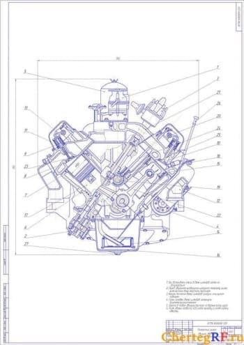 Чертеж поперечного разреза двигателя ЗИЛ-130 с описанием действий по сборке и с указанием габаритных размеров (формат А1)