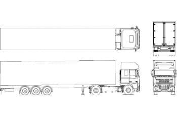 30.Чертеж вида общего полуприцепа с грузовиком DAF XF 95 в различных проекциях – виды сверху, сзади, сбоку и спереди (формат А1)