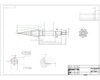 Чертеж детали вал-шестерня. Выполнены выносные разрезы. Обозначены конструкционные размеры и шероховатость (формат А3)