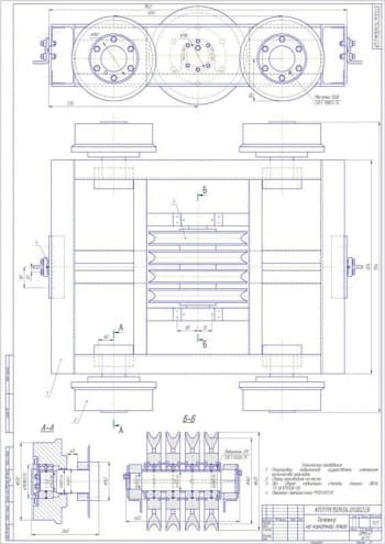 Чертеж СБ тележки на канатной тяге (формат А1).