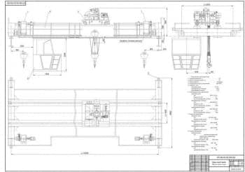 Комплект рабочих чертежей крана мостового типа грузоподъемностью 25 тонн и высотой подъема груза 15 метров