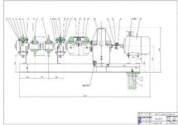 Чертеж СБ привода. Вид сверху с указанием деталей  (формат А1)