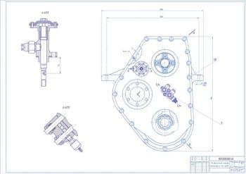 Комплект сборочных чертежей раздаточной коробки автомобиля ГАЗ-3308 с разработкой листа деталировки