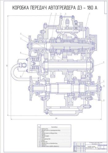 3.Сборочный чертеж коробки передач автогрейдера ДЗ-180А с перечнем деталей: первичный вал, зубчатое колесо на промежуточном валу, корпус, зубчатое колесо на ведущем валу, каретка, зубчатая муфта, крышка, промежуточный вал, фланец, выходной вал, зубчатое