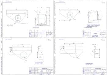 3.Деталировочный чертеж: кронштейн рессоры передний в масштабе 1:1, с указанными размерами для справок; щека наружная в масштабе 1:1