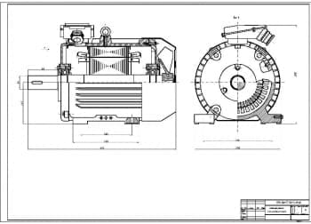 3.Чертеж СБ двигателя асинхронного с короткозамкнутым ротором в масштабе 1:2 в двух проекциях – вид спереди и вид сбоку (формат А1)