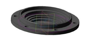 Чертеж детали крышки с отверстием модель 3d
