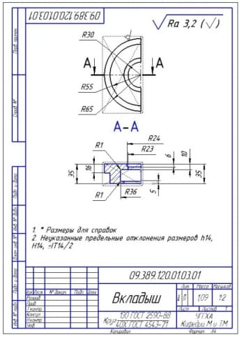 32.Рабочий чертеж вкладыша (формат А4)