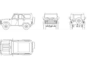 32.Чертеж общего вида автомобиля легкового УАЗ-469 в различных проекциях – виды сверху, сзади, сбоку и спереди (формат А1)
