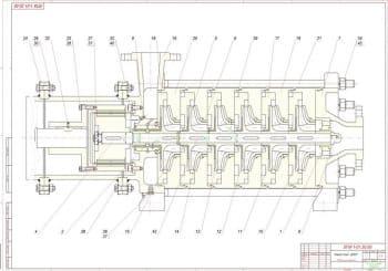 3.Чертеж сборочный насоса типа ЦНСГ в масштабе 1:1, с указанными размерами (формат А1)
