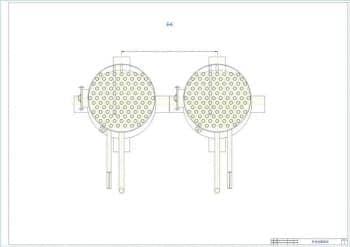 3.Чертеж общего вида котла-утилизатора В-90Б в разрезе Б-Б,  с указанными размерами (формат А4)
