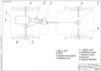 3.Чертеж кинематической схемы вездехода с указанными деталями