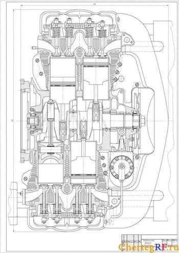 Чертеж двигателя Фольксваген