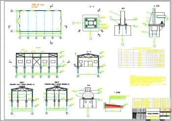 3.Чертеж плана склада оснастки на отметке +0.150, в разрезах 1-1, 2-2, 3-3, 4-4, 5-5, видов А и Б, узлов, в масштабах 1:100 и 1:50