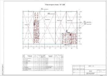 3.Чертеж плана электроосвещения второго этажа в масштабе 1:200